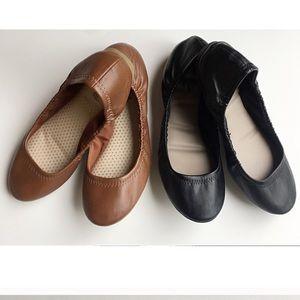 Black & Cognac Ballet Flats size 8